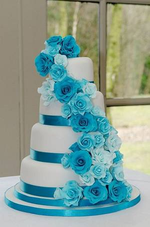 Turquoise Rose Cascade Wedding Cake - Cake by Carrie