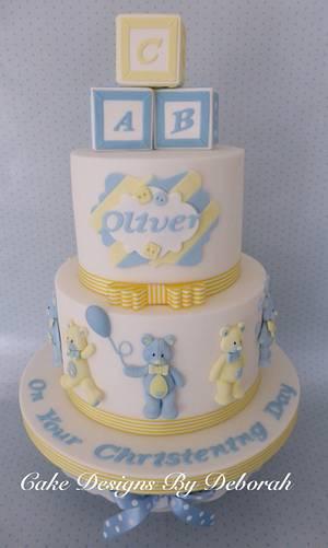 Teddy Bear Christening Cake - Cake by Deborah