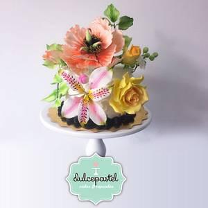 Sugar Flowers - Flores de Azúcar - Cake by Dulcepastel.com