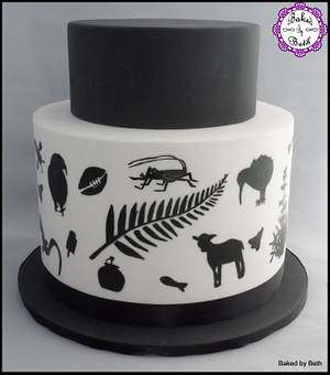 Kiwiana Silhouettes : Kiwi As collaboration  - Cake by BakedbyBeth