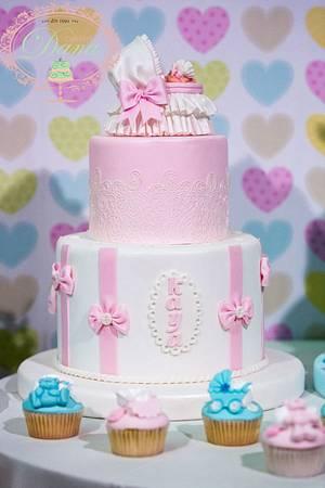 Girl christening cake and cupcakes - Cake by Cofetaria Dana