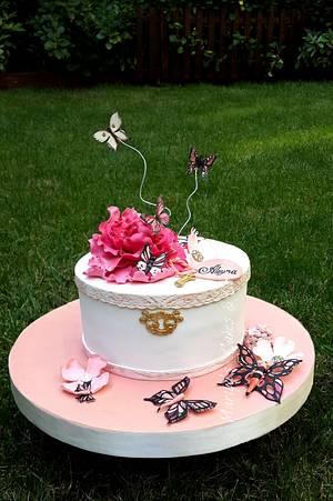 Cake with peony & butterflies   - Cake by Mariya's Cakes & Art