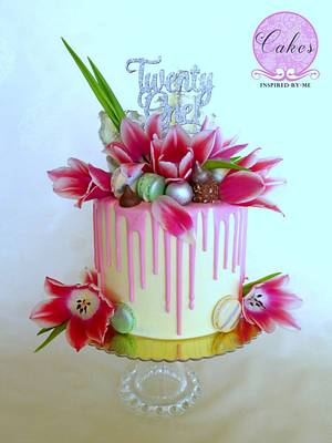 Pink tulips drip cake - Cake by Cakes Inspired by me