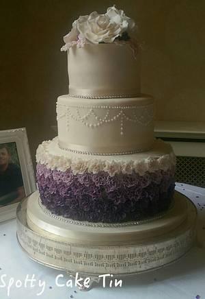 Ruffle rose Wedding cake  - Cake by Shell at Spotty Cake Tin