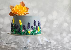 A streaky melancholy grey and yellow cake - Cake by Ashel sandeep