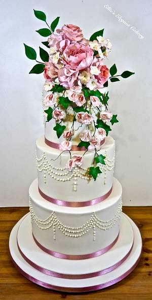 Pink floral wedding cake - Cake by Ellie @ Ellie's Elegant Cakery