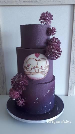 Wedding in purple - Cake by Kaliss