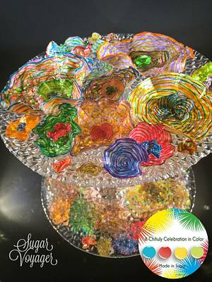 Faux-glass flowers - A Chihuly Sugar Celebration collab - Cake by sugar voyager