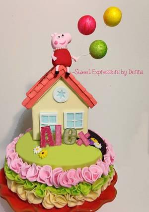 Peppa Pig Ruffle Cake - Cake by Donna