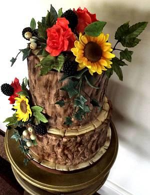 Rustic Tree Bark Cake, With Sunflowers, Blackberries & Roses x - Cake by Storyteller Cakes