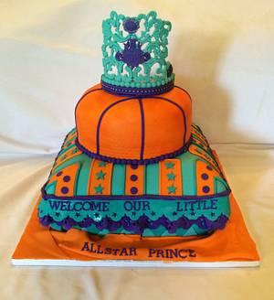 Welcome All-star prince - turquoise , purple, orange baby shower cake  - Cake by Caroline Diaz