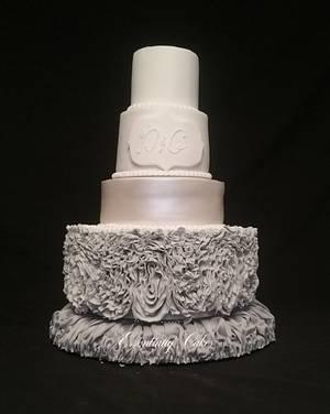 Grey Ruffle wedding cake - Cake by Essentially Cakes