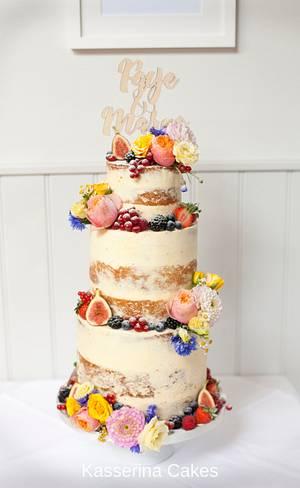 Semi-naked wedding cake with fruit and flowers - Cake by Kasserina Cakes