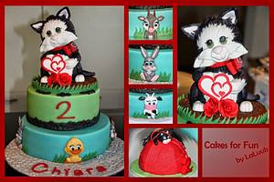 Kitten + farm yard baby animals - Cake by Cakes for Fun_by LaLuub