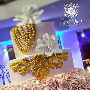 Pink and Gold Wedding Cake - Cake by Tomyka