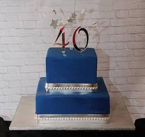 Blue 40th - Cake by Trickycakes
