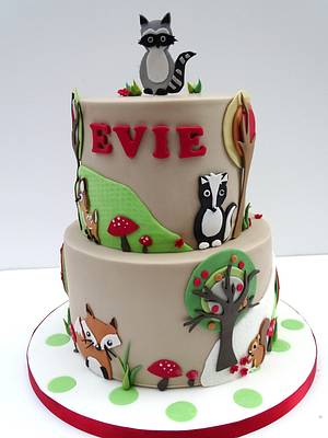 Woodland Animals Christening - Cake by The Rosehip Bakery