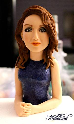 """""""Girl in a blue dress"""" cake topper - Cake by Mellaland"""