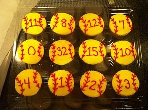softball cupcakes - Cake by Jen Scott