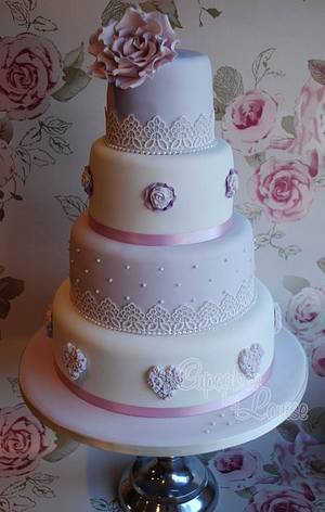 Lilac vintage wedding cake - Cake by CupcakesbyLouise