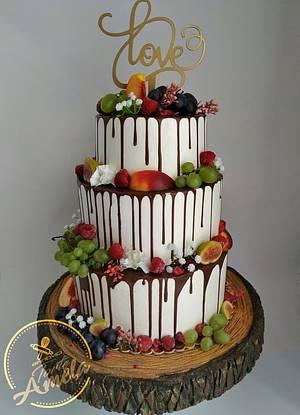 Fruit drip wedding cake - Cake by Torte Amela