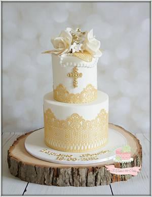 White Gold Baptism - Cake by Jo Finlayson (Jo Takes the Cake)