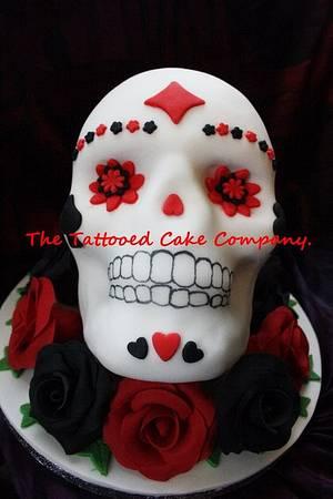 Skull cake for a biker - Cake by TattooedCake