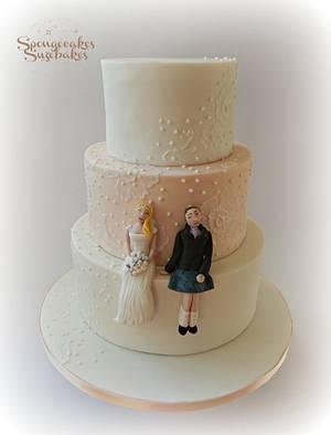 Brush embroidery wedding cake - Cake by Spongecakes Suzebakes