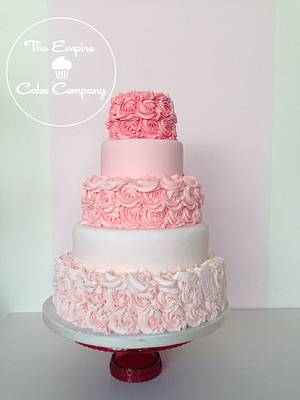 Pink ombre rose buttercream wedding cake - Cake by The Empire Cake Company