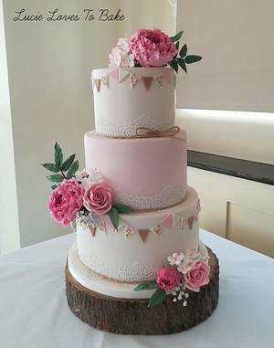 Pink Floral Bunting Wedding Cake - Cake by LucieLovesToBake