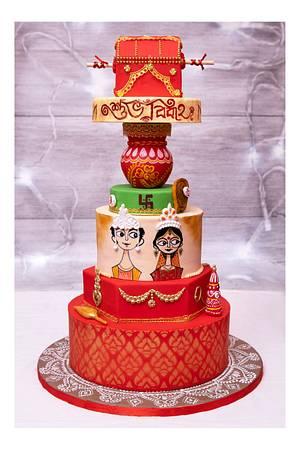 Bengali wedding - Cake by Joyeeta lahiri
