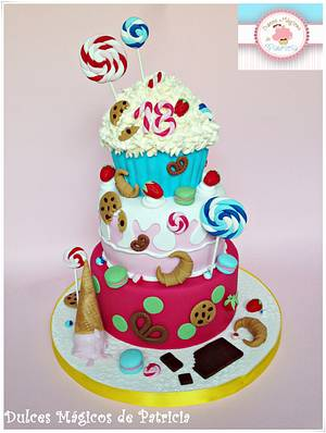Candy, candy and more candy cake :) - Cake by Dulces Mágicos de Patricia