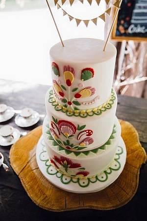 Folk Themed Wedding Cake - Cake by Beth Evans