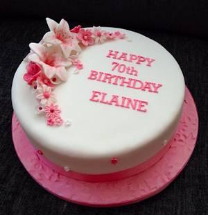 Pink Flowers 70th Birthday Cake - Cake by Caron Eveleigh
