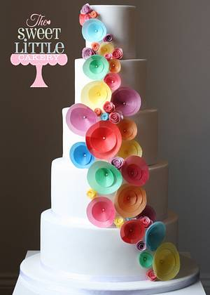 Rainbow wedding cake made with wafer paper - Cake by thesweetlittlecakery