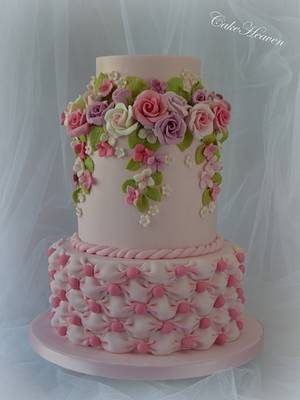 Pink Roses and Billowing Cake - Cake by CakeHeaven by Marlene