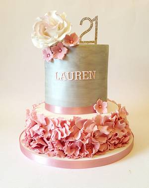 Silver and Dusky Pink 21st Cake - Cake by Claire Lawrence