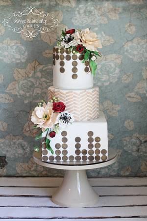 Peony and Ranunculus Geometric Wedding Cake - Cake by Sweet and Swanky Cakes ~ Sonja McLean
