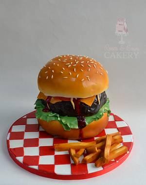 Hamburger and fries!  - Cake by Karen Keaney