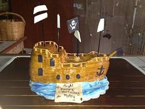 Pirate ship cake  - Cake by Samantha Corey