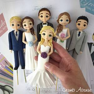 Bride & Groom Cake Toppers - Cake by Crumb Avenue