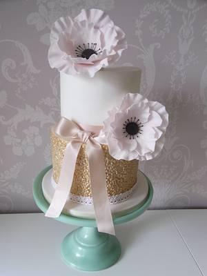 Blush Anemone Wedding Cake...x. - Cake by Lulu Belles Cupcake Creations
