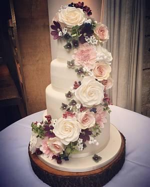 Autumnal Floral Cascade Wedding Cake - Cake by Samantha Tempest