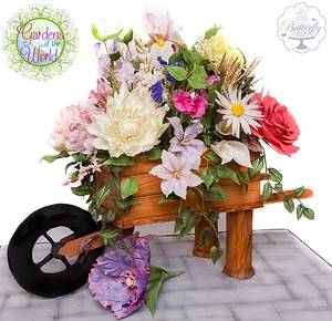 Floral wheelbarrow - Gardens of the World Collaboration - Cake by Butterfly Cakes and Bakes