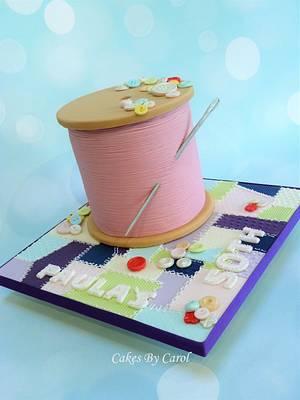 Cotton Reel - Sewing theme  - Cake by Carol