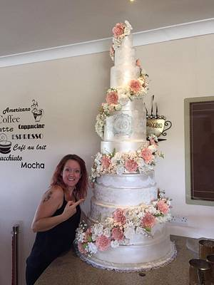 The Biggest Wedding Cake I've ever made! - Cake by DusiCake