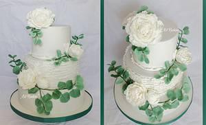 Peony-Eucalyptus wedding cake - Cake by Art Bakin'