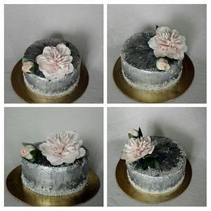 Silver with poeny - Cake by Anka