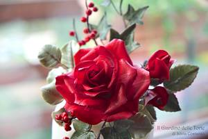 Red Rose bouquet for Christmas - Cake by Silvia Costanzo