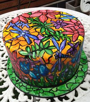 Stained Glass Dragonfly Cake - Cake by Lauren